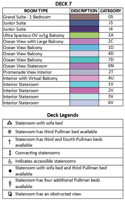 Harmony of the Seas Deck 7 plan keys