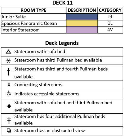 Independence Of The Seas Deck 11 plan keys