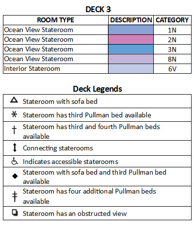 Liberty Of The Seas Deck 3 plan keys