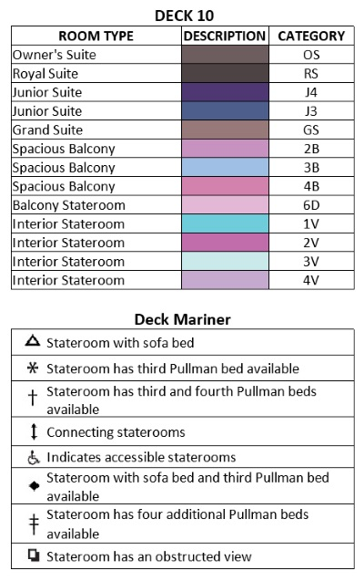 Mariner Of The Seas Deck 10 plan keys