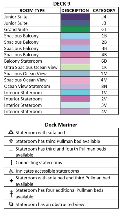 Mariner Of The Seas Deck 9 plan keys