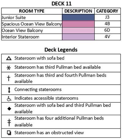 Navigator Of The Seas Deck 11 plan keys