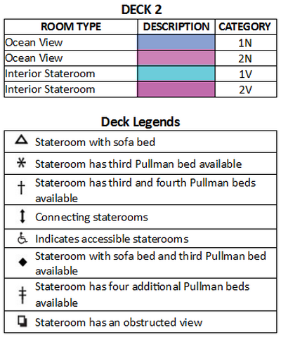 Radiance Of The Seas Deck 2 plan keys