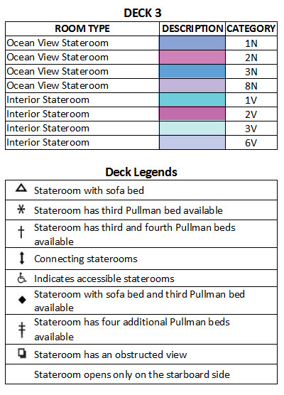 Serenade Of The Seas Deck 3 plan keys