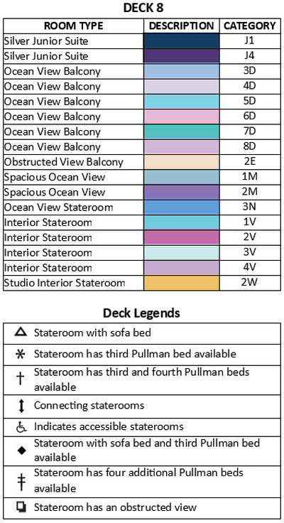 Spectrum Of The Seas Deck 8 plan keys