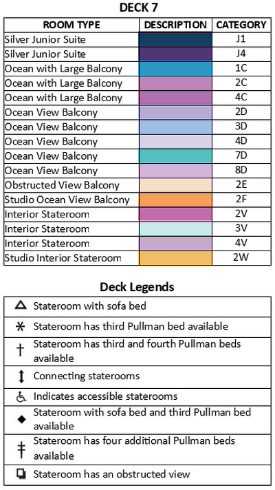 Spectrum Of The Seas Deck 7 plan keys