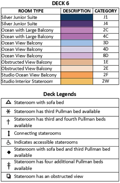 Spectrum Of The Seas Deck 6 plan keys