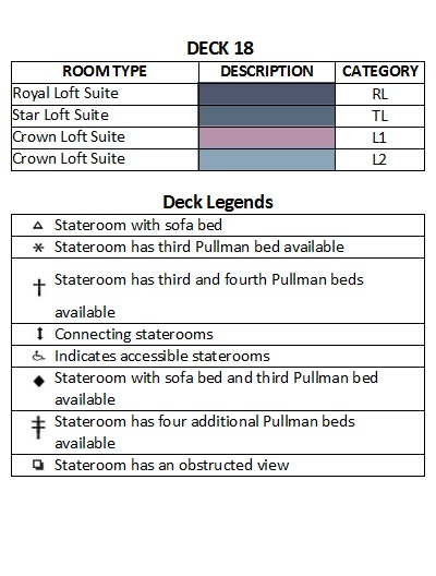 Symphony Of The Seas Deck 18 plan keys