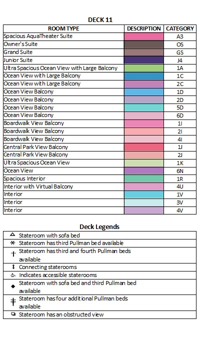 Symphony Of The Seas Deck 11 plan keys