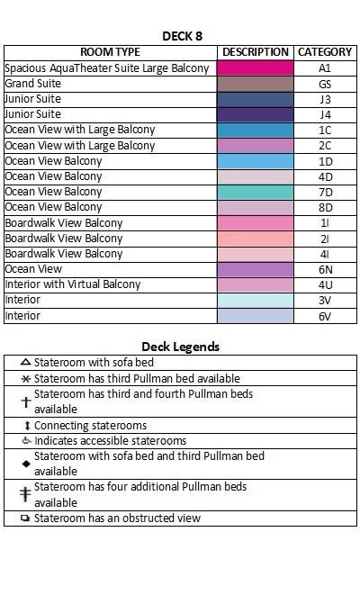 Symphony Of The Seas Deck 8 plan keys