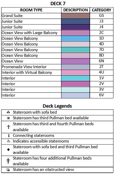 Symphony Of The Seas Deck 7 plan keys