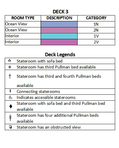 Symphony Of The Seas Deck 3 plan keys