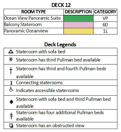 Voyager Of The Seas Deck 12 plan keys