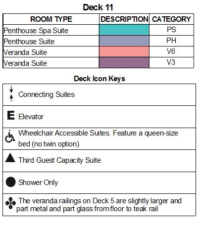 Seabourn Encore Deck 11 plan keys