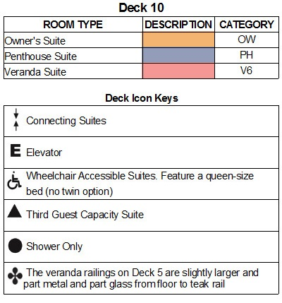Seabourn Encore Deck 10 plan keys