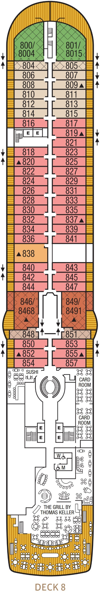 Seabourn Encore Deck 8 layout