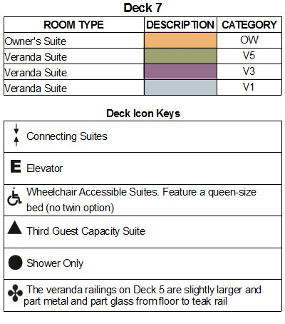 Seabourn Encore Deck 7 plan keys