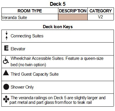 Seabourn Encore Deck 5 plan keys