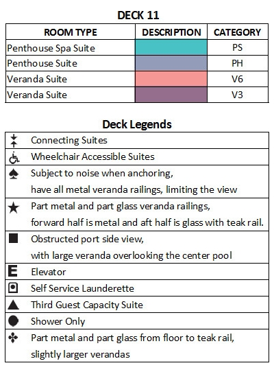 Seabourn Ovation Deck 11 plan keys
