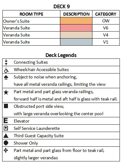 Seabourn Ovation Deck 9 plan keys