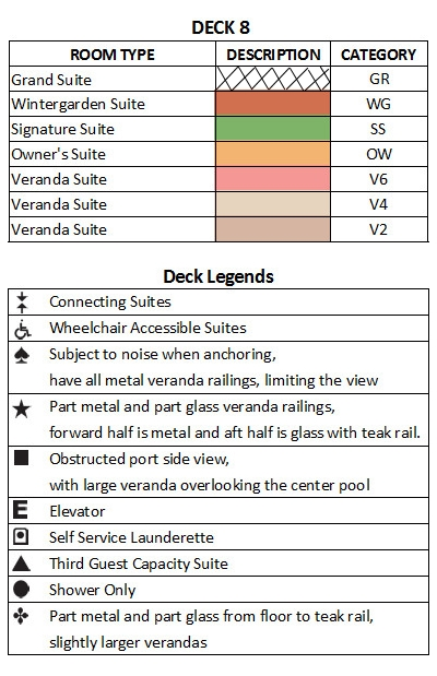 Seabourn Ovation Deck 8 plan keys