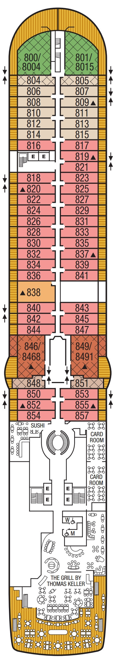 Seabourn Ovation Deck 8 layout