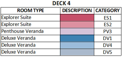 Viking Sun Deck 4 plan keys