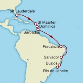 Fort Lauderdale to Rio de Janeiro World Sector Itinerary