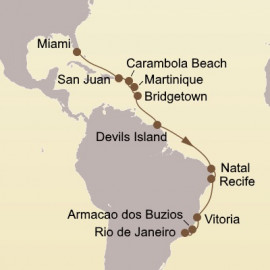 Caribbean Isles and Brazil Itinerary