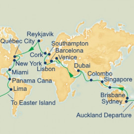 Auckland Departure World Itinerary