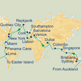 Brisbane Departure World Itinerary