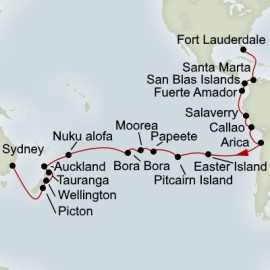 Fort Lauderdale to Sydney Grand World Voyage Itinerary