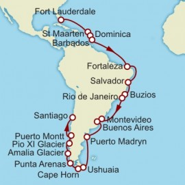 Fort Lauderdale to Valparaiso World Sector Itinerary