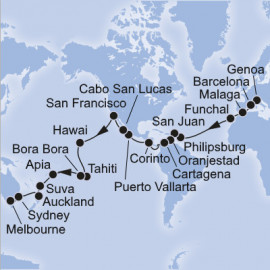 Genoa to Melbourne World Sector Itinerary