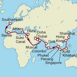 Southampton to Shanghai World Sector Itinerary