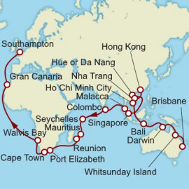 Brisbane to Southampton World Sector Itinerary