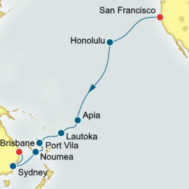 San Francisco to Brisbane World Sector Itinerary