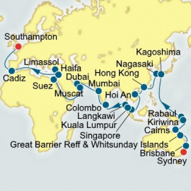 Sydney to Southampton World Sector Itinerary