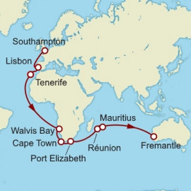 Southampton to Fremantle World Sector Cunard Cruise
