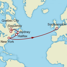 Quebec City to Southampton over 14 nights on Queen Mary 2 Cunard Cruise