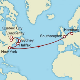 Quebec City to Hamburg over 16 nights on Queen Mary 2 Cunard Cruise