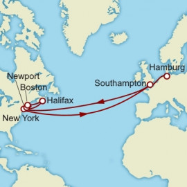 Hamburg to Southampton over 23 nights on Queen Mary 2 Cunard Cruise