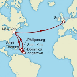 New York to Southampton over 19 nights on Queen Mary 2 Cunard Cruise