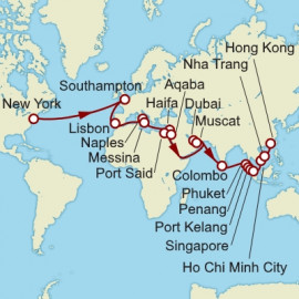 New York to Hong Kong over 46 nights on Queen Mary 2 Cunard Cruise