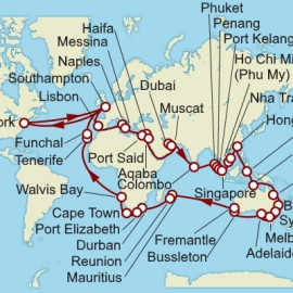 Round trip from New York over 113 nights on Queen Mary 2 Cunard Cruise