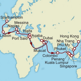 Southampton to Hong Kong Cunard Cruise