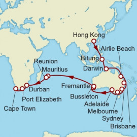 Hong Kong to Cape Town over 43 nights on Queen Mary 2 Cunard Cruise