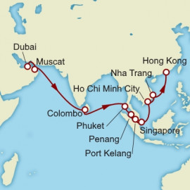 Dubai to Hong Kong over 19 nights on Queen Mary 2 Itinerary