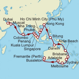 Dubai to Fremantle Cunard Cruise