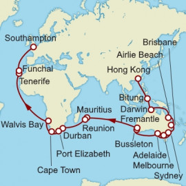 Hong Kong to Southampton Cunard Cruise